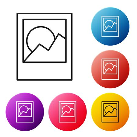 Black line Photo frames icon isolated on white background. Set icons colorful circle buttons. Vector Illustration