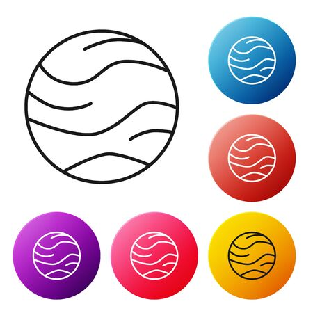 Black line Planet icon isolated on white background. Set icons colorful circle buttons. Vector Illustration