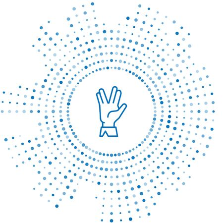 Blue line Vulcan salute icon isolated on white background. Hand with Vulcan greet. Spock symbol. Abstract circle random dots. Vector Illustration