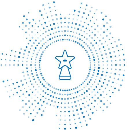 Blue line Christmas star icon isolated on white background. Merry Christmas and Happy New Year. Abstract circle random dots. Vector Illustration
