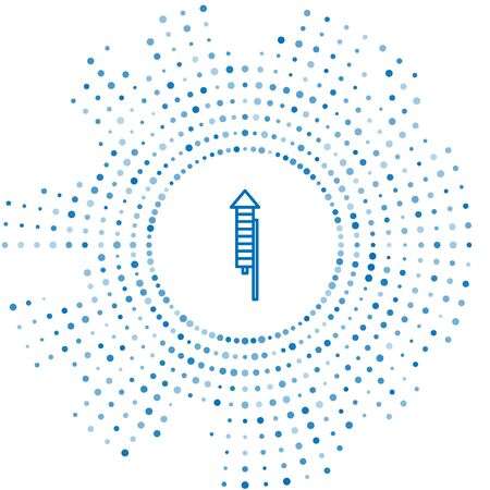 Blue line Firework rocket icon isolated on white background. Concept of fun party. Explosive pyrotechnic symbol. Abstract circle random dots. Vector Illustration