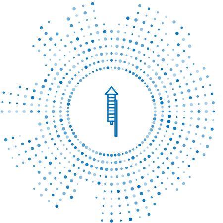 Icono de cohete de fuegos artificiales de línea azul aislado sobre fondo blanco. Concepto de fiesta divertida. Símbolo pirotécnico explosivo. Puntos aleatorios de círculo abstracto. Ilustración vectorial