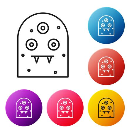 Black line Alien icon isolated on white background. Extraterrestrial alien face or head symbol. Set icons colorful circle buttons. Vector Illustration