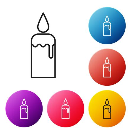 Black line Burning candle in candlestick icon isolated on white background. Cylindrical candle stick with burning flame. Set icons colorful circle buttons. Vector Illustration