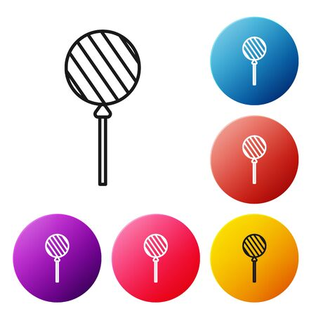Black line Lollipop icon isolated on white background. Food, delicious symbol. Set icons colorful circle buttons. Vector Illustration Stock Illustratie