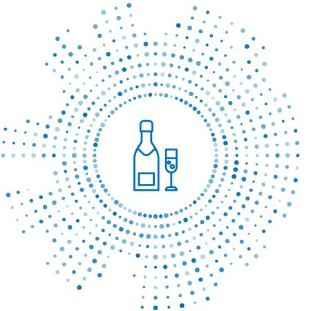 Blue line Champagne bottle and glass of champagne icon isolated on white background. Merry Christmas and Happy New Year. Abstract circle random dots. Vector Illustration