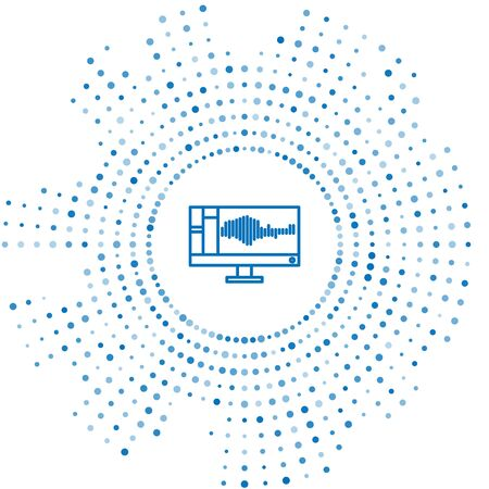 Blue line Sound or audio recorder or editor software on computer monitor icon isolated on white background. Abstract circle random dots. Vector Illustration Illustration