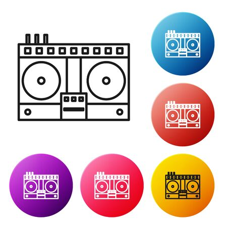Black line DJ remote for playing and mixing music icon isolated on white background. DJ mixer complete with vinyl player and remote control. Set icons colorful circle buttons. Vector Illustration