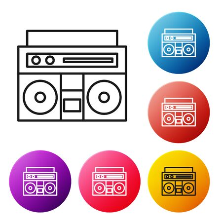 Black line Home stereo with two speakers icon isolated on white background. Music system. Set icons colorful circle buttons. Vector Illustration