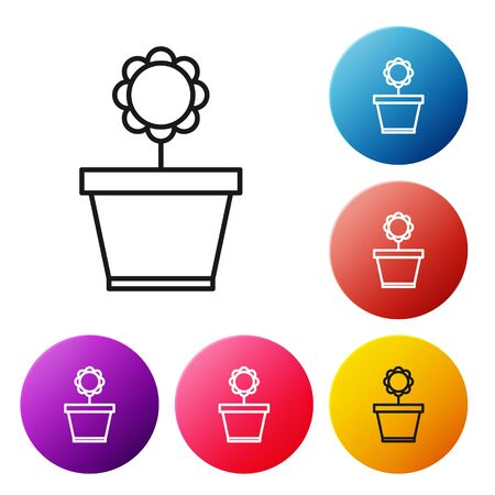 Black line Flower in pot icon isolated on white background. Plant growing in a pot. Potted plant sign. Set icons colorful circle buttons. Vector Illustration