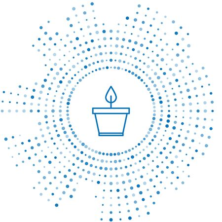 Blue line Plant in pot icon isolated on white background. Plant growing in a pot. Potted plant sign. Abstract circle random dots. Vector Illustration