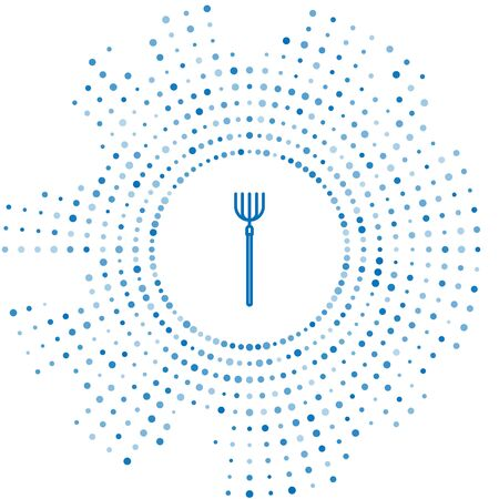 Blue line Garden pitchfork icon isolated on white background. Garden fork sign. Tool for horticulture, agriculture, farming. Abstract circle random dots. Vector Illustration