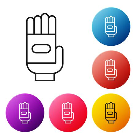 Black line Garden gloves icon isolated on white background. Rubber gauntlets sign. Farming hand protection, gloves safety. Set icons colorful circle buttons. Vector Illustration