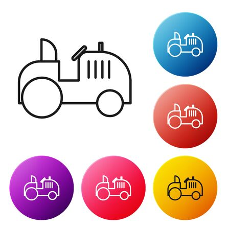 Black line Tractor icon isolated on white background. Set icons colorful circle buttons. Vector Illustration