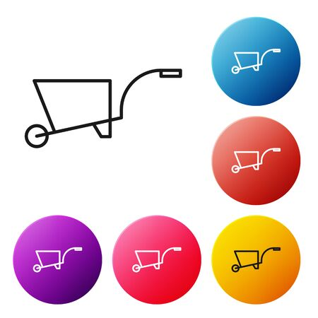 Black line Wheelbarrow icon isolated on white background. Tool equipment. Agriculture cart wheel farm. Set icons colorful circle buttons. Vector Illustration
