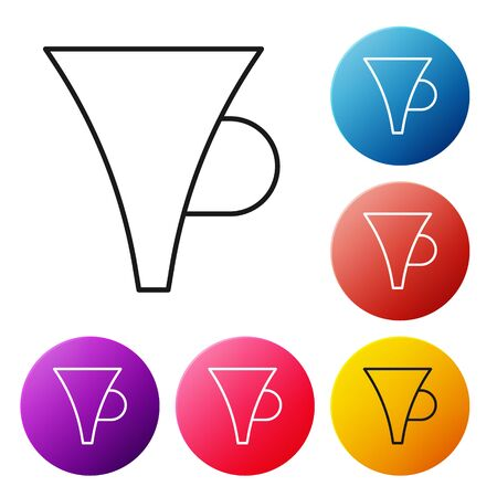 Black line Funnel or filter icon isolated on white background. Set icons colorful circle buttons. Vector Illustration