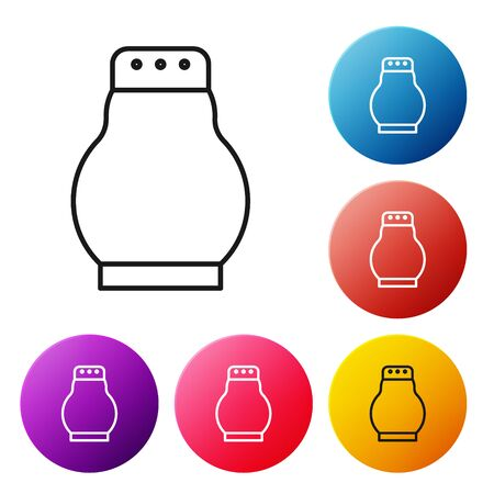 Black line Salt and pepper icon isolated on white background. Cooking spices. Set icons colorful circle buttons. Vector Illustration