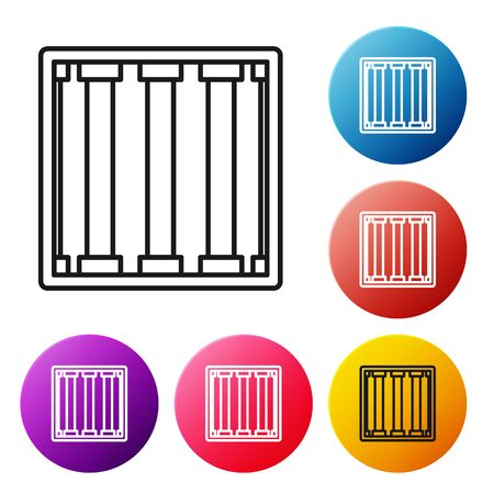 Black line Prison window icon isolated on white background. Set icons colorful circle buttons. Vector Illustration