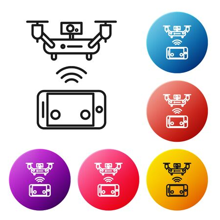 Black line Remote aerial drone with a camera taking photography or video recording icon isolated on white background. Set icons colorful circle buttons. Vector Illustration