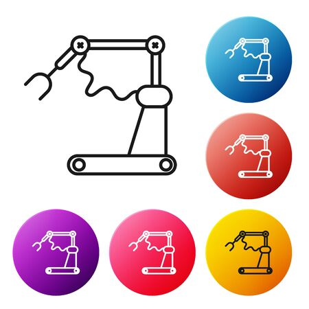 Black line Industrial machine robotic robot arm hand factory icon isolated on white background. Industrial robot manipulator. Set icons colorful circle buttons. Vector Illustration Vettoriali