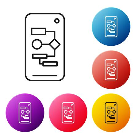 Black line Algorithm icon isolated on white background. Algorithm symbol design from Artificial Intelligence collection. Set icons colorful circle buttons. Vector Illustration