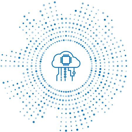 Blue line Internet of things icon isolated on white background. Cloud computing design concept. Digital network connection. Abstract circle random dots. Vector Illustration