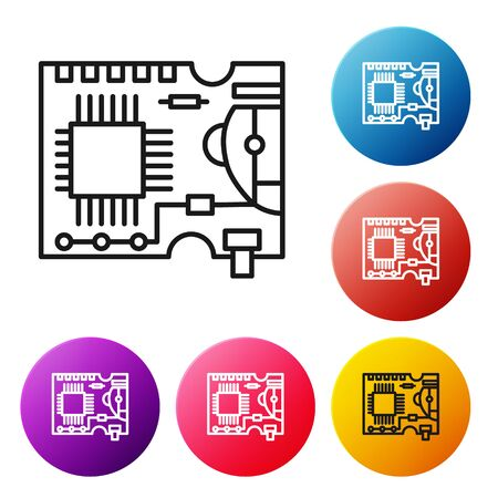 Black line Printed circuit board PCB icon isolated on white background. Set icons colorful circle buttons. Vector Illustration