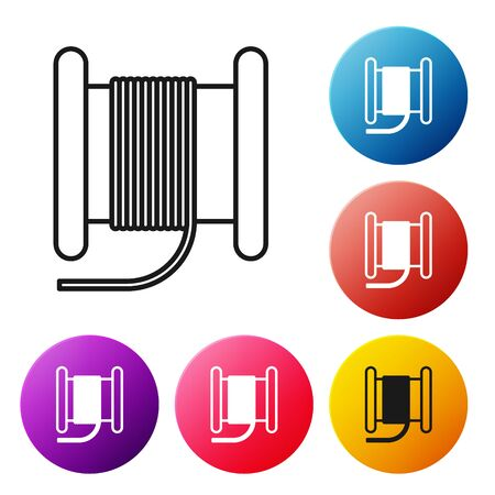Black line Wire electric cable on a reel or drum icon isolated on white background. Set icons colorful circle buttons. Vector Illustration