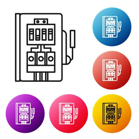 Black line Electrical panel icon isolated on white background. Set icons colorful circle buttons. Vector Illustration Stock Illustratie