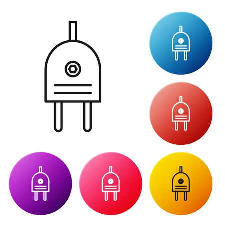 Black line Electric plug icon isolated on white background. Concept of connection and disconnection of the electricity. Set icons colorful circle buttons. Vector Illustration