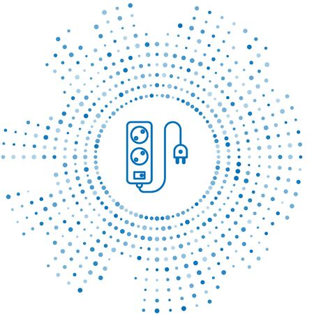 Ligne bleue Icône de rallonge électrique isolé sur fond blanc. Prise de courant. Points aléatoires de cercle abstrait. Illustration vectorielle