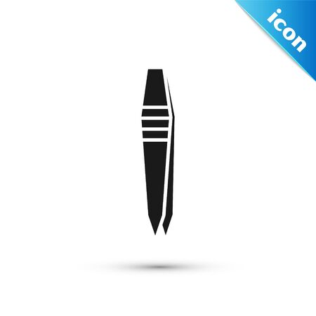 Black Tweezers icon isolated on white background. Vector Illustration  イラスト・ベクター素材