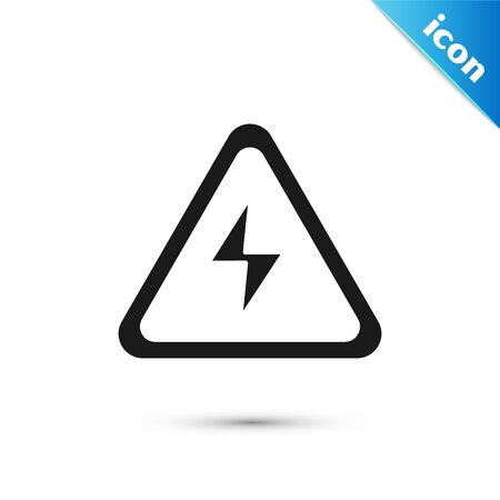 Black High voltage sign icon isolated on white background. Danger symbol. Arrow in triangle. Warning icon. Vector Illustration