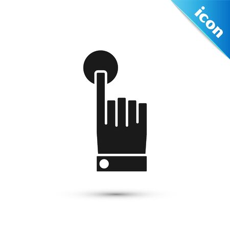 Black Hand touch and tap gesture icon isolated on white background. Click here, finger, touch, pointer, cursor, mouse symbol. Vector Illustration