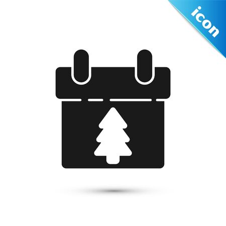 Black Calendar icon isolated on white background. Event reminder symbol. Merry Christmas and Happy New Year. Vector Illustration