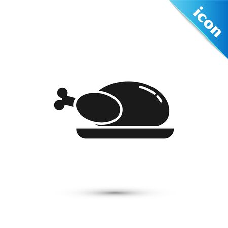 Black Roasted turkey or chicken icon isolated on white background. Vector Illustration