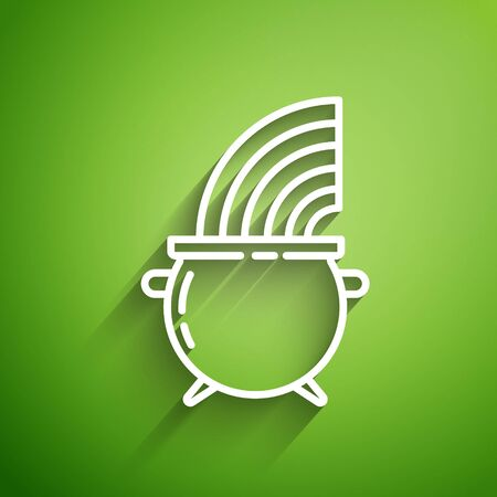 White line Witch cauldron and rainbow icon isolated on green background. Happy Saint Patricks day. Vector Illustration