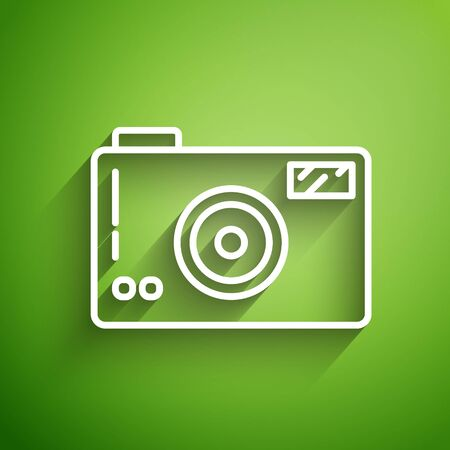 White line Photo camera icon isolated on green background. Foto camera icon. Vector Illustration