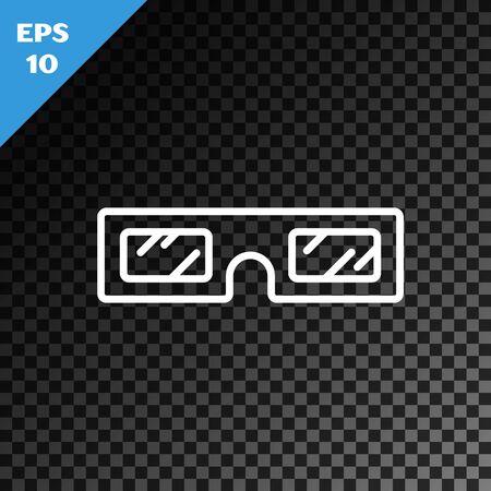 Icône de lunettes de cinéma 3D ligne blanche isolée sur fond sombre transparent. Illustration vectorielle