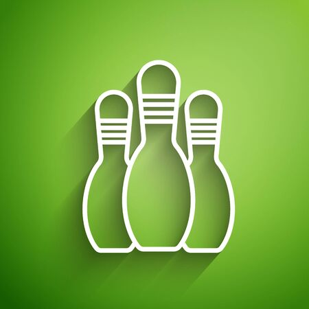 White line Bowling pin icon isolated on green background. Vector Illustration