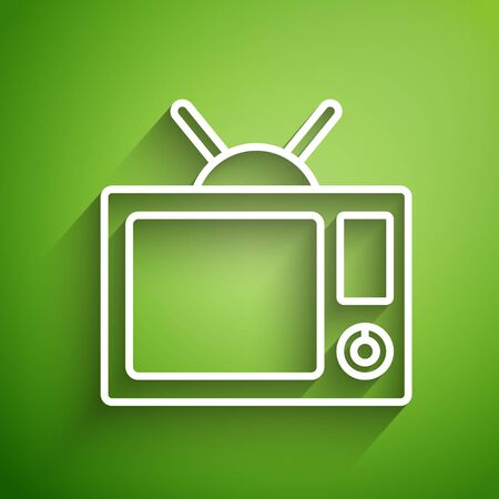 White line Tv icon isolated on green background. Television sign. Vector Illustration