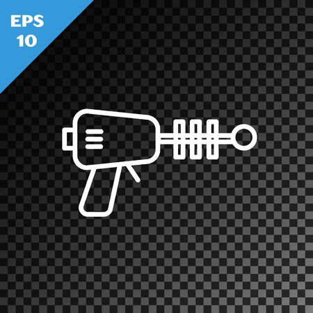 White line Ray gun icon isolated on transparent dark background. Laser weapon. Space blaster. Vector Illustration