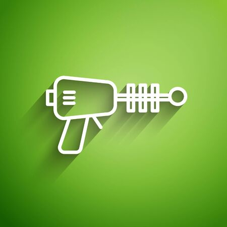 White line Ray gun icon isolated on green background. Laser weapon. Space blaster. Vector Illustration