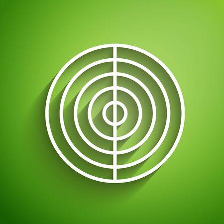 Weiße Linie Earth-Struktur-Symbol auf grünem Hintergrund isoliert. Geophysikalisches Konzept mit Erdkern und Abschnittsschichten Erde. Vektorillustration