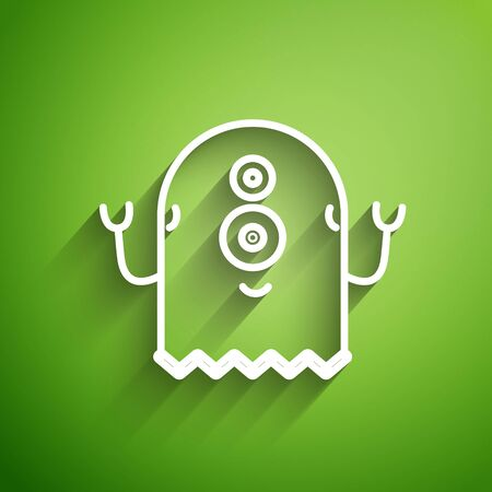 White line Alien icon isolated on green background. Extraterrestrial alien face or head symbol. Vector Illustration
