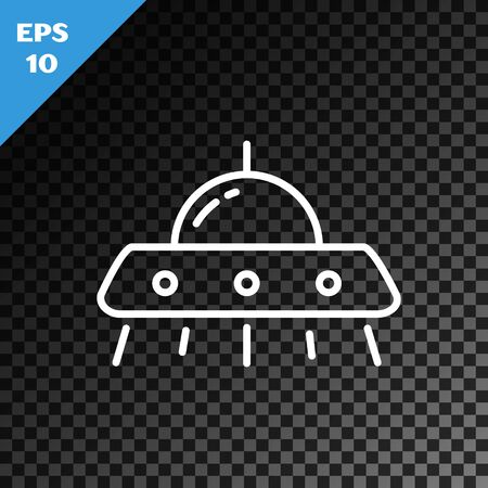 White line UFO flying spaceship icon isolated on transparent dark background. Flying saucer. Alien space ship. Futuristic unknown flying object. Vector Illustration