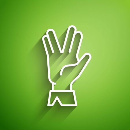 White line Vulcan salute icon isolated on green background. Hand with vulcan greet. Spock symbol. Vector Illustration