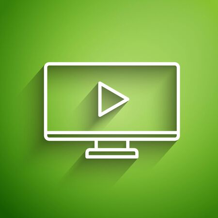 White line Online play video icon isolated on green background. Computer monitor and film strip with play sign. Vector Illustration