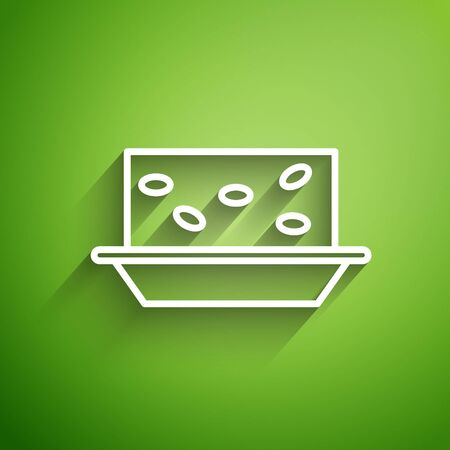 White line Nougat with nuts icon isolated on green background. Vector Illustration