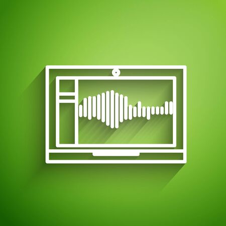 White line Sound or audio recorder or editor software on laptop icon isolated on green background. Vector Illustration